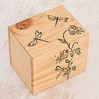 Wood decorative box, 'Dragonfly Garden' - Dragonfly-Themed Pinewood Decorative Box from Costa Rica