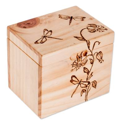 Dragonfly-Themed Pinewood Decorative Box from Costa Rica