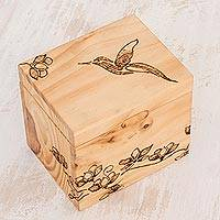 Wood decorative box, 'Floral Enchantment' - Hummingbird Pinewood Decorative Box from Costa Rica