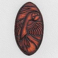 Wood relief panel, 'Noble Macaw' - Parrot-Themed Pochote Wood Relief Panel from Costa Rica
