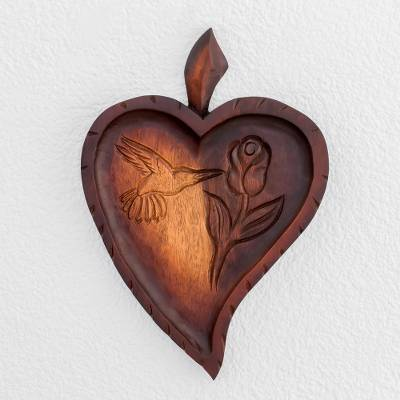 Wood relief panel, 'Natural Love' - Heart-Shaped Hummingbird Wood Relief Panel from Costa Rica