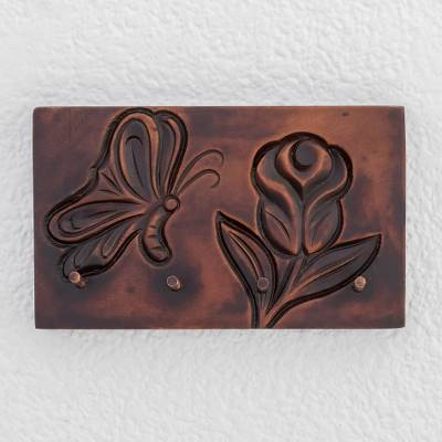 Wood key rack, 'Costa Rican Nature' - Nature-Themed Pochote Wood Key Rack from Costa Rica