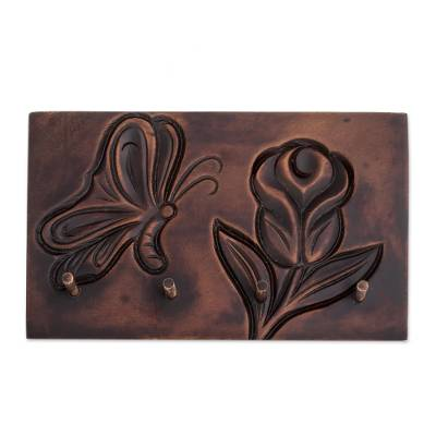 Nature-Themed Pochote Wood Key Rack from Costa Rica