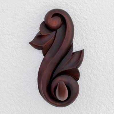 Wood coat hook, 'Antique Detail' - Hand-Carved Pochote Wood Coat Hook from Costa Rica