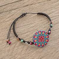 Glass beaded macrame pendant bracelet, 'Mesmerizing Colors' - Colorful Glass Beaded Macrame Pendant Bracelet