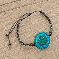 Glass beaded macrame pendant bracelet, 'Mesmerizing Skies' - Spiral Motif Glass Beaded Macrame Pendant Bracelet