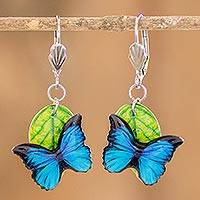 Resin and paper dangle earrings, 'Morpheus' - Butterfly Resin and Paper Dangle Earrings from Costa Rica