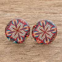 Resin and paper stud earrings, 'Vibrant Kaleidoscope' - Multicolored Resin and Paper Stud Earrings from Costa Rica