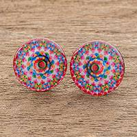 Resin and paper stud earrings, 'Mesmerizing Kaleidoscope' - Vibrant Resin and Paper Stud Earrings from Costa Rica