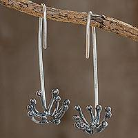 Sterling silver drop earrings, 'Dark Dandelion' - Oxidized Sterling Silver Dandelion Drop Earrings