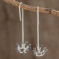 Sterling silver drop earrings, 'Dandelion' - Sterling Silver Dandelion Drop Earrings from Costa Rica