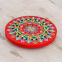 Wood trivet, 'Traditional Colors in Red' - Hand-Painted Wood Trivet in Red from Costa Rica