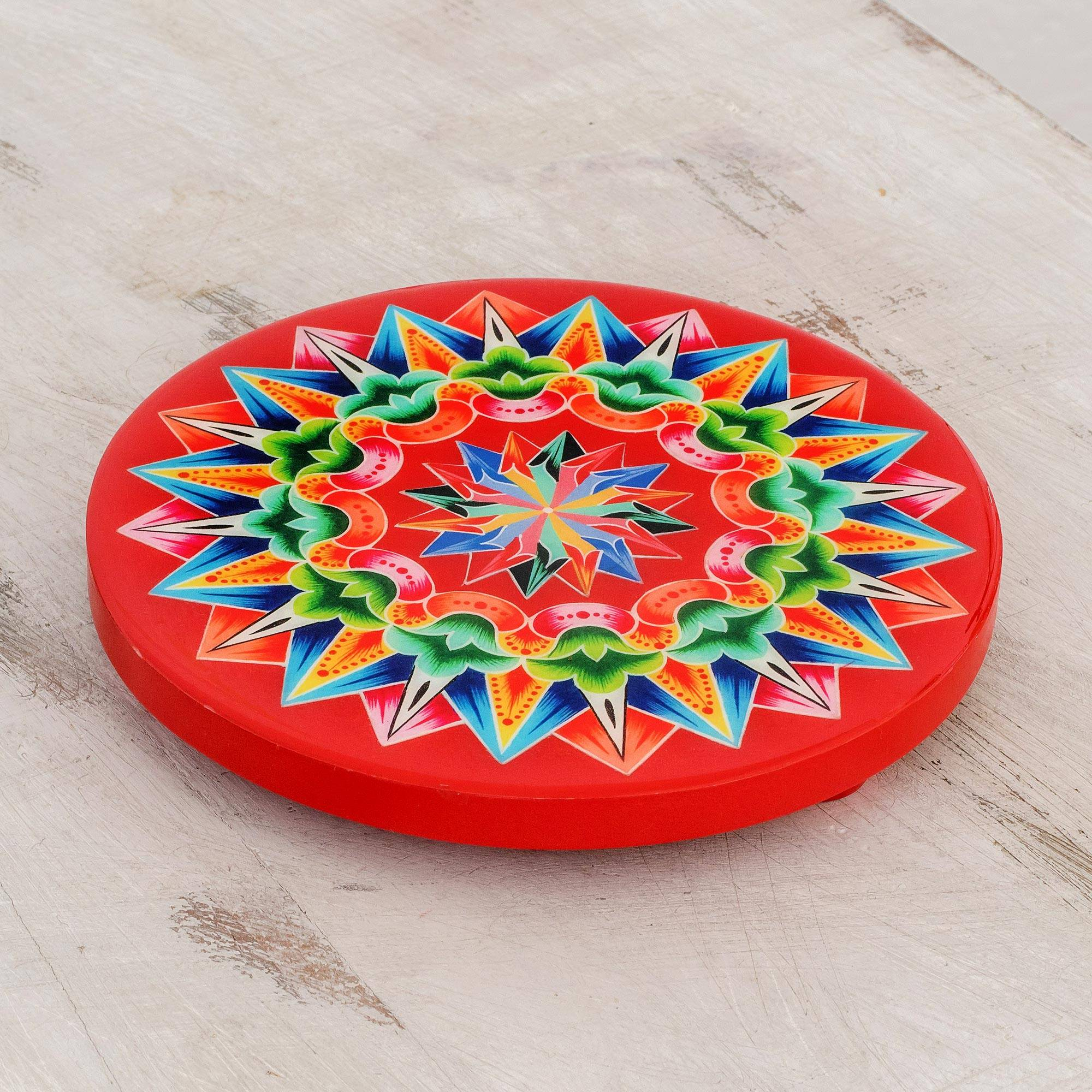 Decoupage Wood Trivet In Red From Costa Rica Traditional Colors In Red Novica