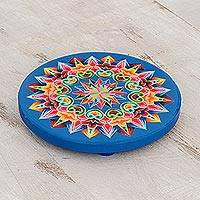 Wood trivet, 'Traditional Colors in Blue' - Hand-Painted Wood Trivet in Blue from Costa Rica