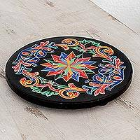 Wood trivet, 'Wonderful Tradition' - Hand-Painted Wood Trivet in Black from Costa Rica