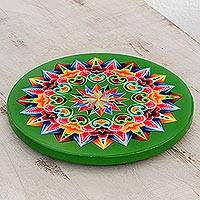 Wood trivet, 'Traditional Colors in Green' - Hand-Painted Wood Trivet in Green from Costa Rica