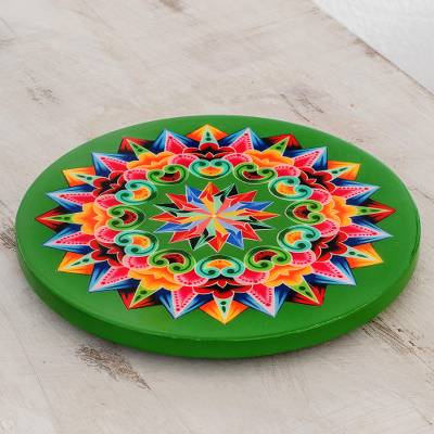 Decoupage wood trivet, 'Traditional Colors in Green' - Decoupage Wood Trivet in Green from Costa Rica