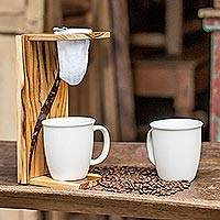 Teakwood single-serve drip coffee stand, 'Coffee Flow' - Teakwood and Resin Single-Serve Drip Coffee Stand