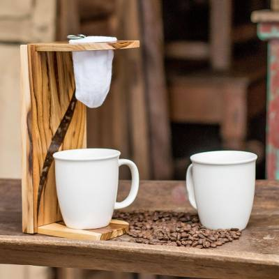 Teakwood single-serve drip coffee stand, 'Fresh Beans' - Teakwood and Resin Single-Serve Drip Coffee Stand