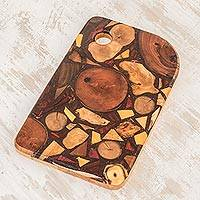 Reclaimed wood trivet, 'Costa Rican Wood' - Rectangular Reclaimed Wood Trivet from Costa Rica