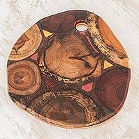 Reclaimed wood trivet, 'Country Wood' - Round Reclaimed Wood Trivet from Costa Rica