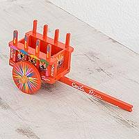 Wood decorative accent, 'Traditions of my Country' - Wood Cart Decorative Accent in Orange from Costa Rica