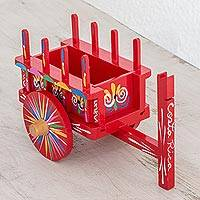 Wood decorative accent, 'Tradition of Color' - Wood Cart Decorative Accent in Red from Costa Rica