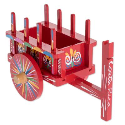 Wood Cart Decorative Accent In Red From Costa Rica Tradition Of Color