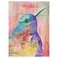 'Pastel Hummingbird' - Signed Expressionist Painting of a Hummingbird