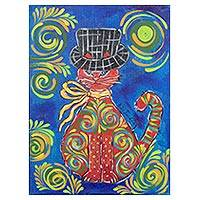 'Cat with a Hat' - Signed Painting of a Cat in a Hat from Costa Rica