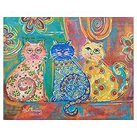 'Feline Trio' - Colorful Signed Painting of Three Cats from Costa Rica