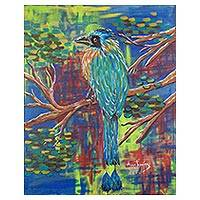 'Turquoise-Browed Motmot' - Signed Expressionist Painting of a Bird from Costa Rica