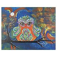 'Guardian of the Night' - Signed Expressionist Painting of an Owl from Costa Rica