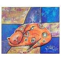 'Sweet Dreams' - Signed Expressionist Painting of an Orange Cat