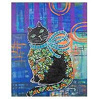 'Feline Elegance' - Signed Expressionist Painting of a Cat from Costa Rica