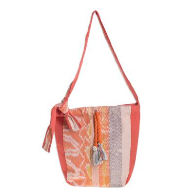 Handwoven Colorful Cotton Bucket Bag from Guatemala