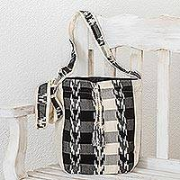 Cotton bucket bag, 'Black and Ivory' - Handwoven Cotton Bucket Bag in Black and Ivory