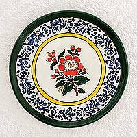 Ceramic decorative plate, 'Floral Enamor' - Hand-Painted Floral Ceramic Decorative Plate from Guatemala