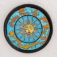 Ceramic decorative plate, 'Fantastic Union' - Sun and Moon Ceramic Decorative Plate from Guatemala