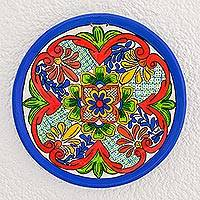 Ceramic decorative plate, 'Nostalgic Love' - Multicolored Ceramic Decorative Plate from Guatemala