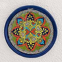 Ceramic decorative plate, 'Colors of Old' - Colorful Ceramic Decorative Plate from Guatemala