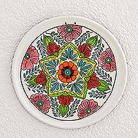 Ceramic decorative plate, 'Subtle Enchantment' - Hand-Painted Floral Ceramic Decorative Plate from Guatemala