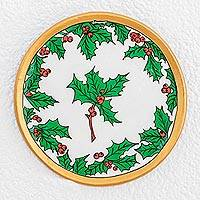 Ceramic decorative plate, 'Beautiful Holly' - Holly Motif Ceramic Decorative Plate from Guatemala
