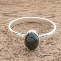 Jade single stone ring, 'Force and Beauty in Dark Green' - Jade Single Stone Ring in Dark Green from Guatemala