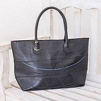 Recycled rubber tote, 'Eco Delight' - Recycled Rubber Tote Handbag from El Salvador