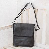 Recycled rubber messenger bag, 'Eco Messenger' - Recycled Rubber Messenger Bag from El Salvador