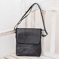 Recycled rubber messenger bag, 'Eco Messenger' - Recycled Rubber Messenger Bag from El Salvador
