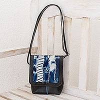 Recycled rubber and cotton messenger bag,