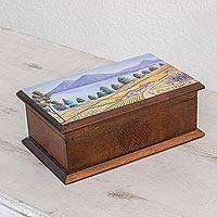 Wood decorative box, 'Atitlán' - Hand-Painted Landscape Wood Decorative Box from Guatemala