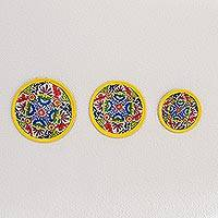Ceramic decorative plates, 'Living Ancestry' (set of 3) - Floral Ceramic Decorative Plates from Guatemala (Set of 3)
